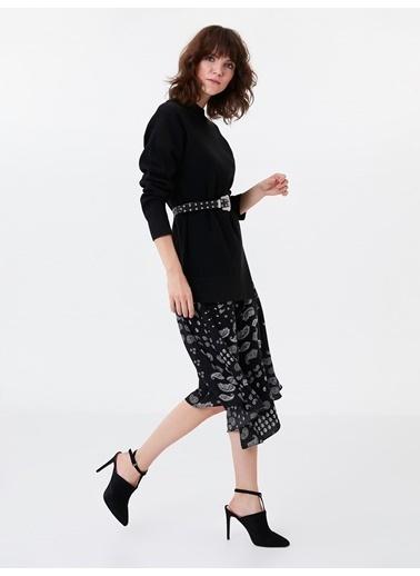Ipekyol Eteği Şal Desen Çift Parça Görünüm Elbise Siyah